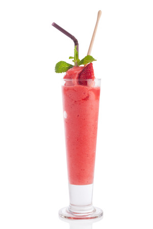 tall glass: strawberry smoothie in tall glass isolated on white.