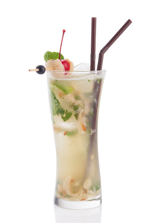 pool bar: lychee mojito cocktail isolated on white background.