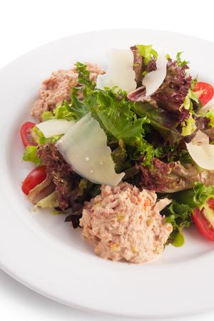 tuna salad: Tuna salad cooked with thousand island, on white. Stock Photo