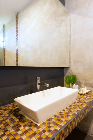 cement interior style in restroom, basin countertop.