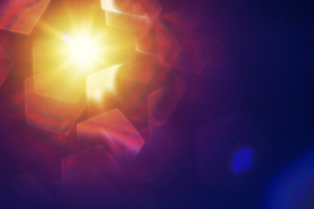 pentagon: abstract sun with lens flare and pentagon bokeh.