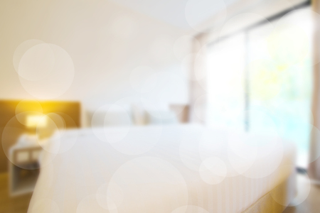 abstract comfortable bedroom in blurred vision and bokeh,Thailand.