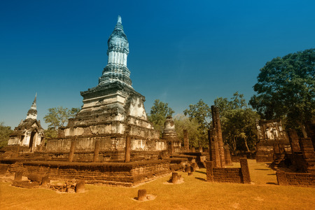 The ancient chedi in Si Satchanalai Historical Park, Sukhothai province, Thailand.