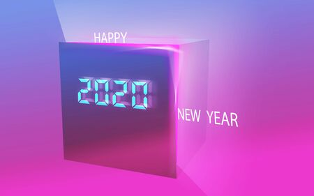 Happy New Year 2020 and digital gift box filled with energy of happiness. Banque d'images - 131351116