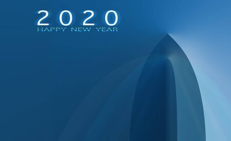 Happy New Year 2020 Worldwide ship business, Transportation, Logistic, Cruise Travel, abstract ship background.