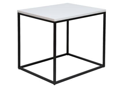 Modern metal table, with white marble top. isolated with paths.