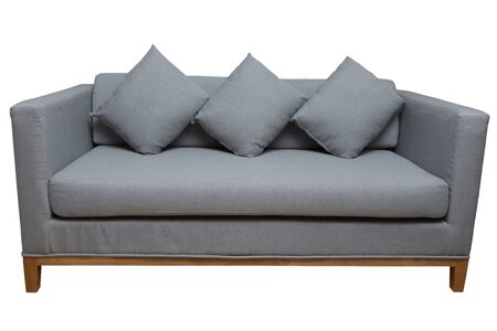 grey couch with pillows isolated on white with paths.