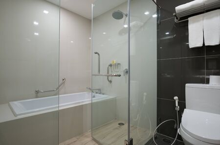 The bathroom has a rain shower and a bathtub in the wet area, separated from the dry section with a toilet bowl with glass doors. Foto de archivo
