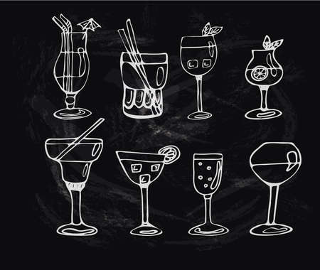 Set of alcoholic cocktails or drinks. Isolated black and white wine glasses in sketch style. Hand drawing. Vector illustration Stock Photo