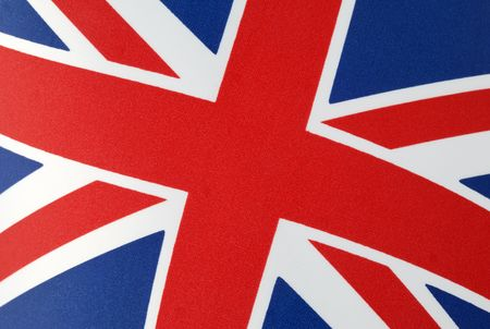 Cropped close-up of the Union Jack flag of the United Kingdom. Horizontal shot.
