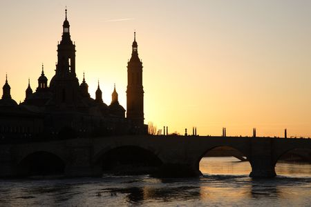 Pilar Basilica Church, Zaragoza, Spain Stock Photo