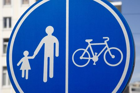 Pedestrian and Bike Lane Sign Stock Photo - 7287604