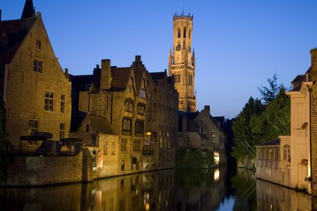 Belfort, Belfry and canals in Belfort; Bruges; Belgium; Europe