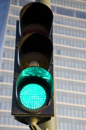 Green Light in front of Office Building photo