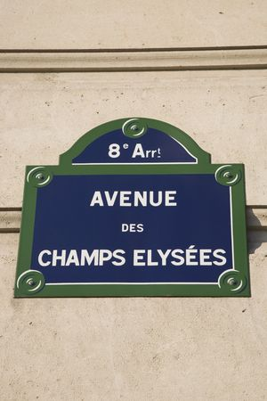 Champs Elysees Street Sign, Paris, France Stock Photo