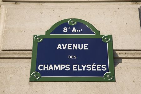 elysees: Avenue Champs Elysees Street Sign in France, Europe