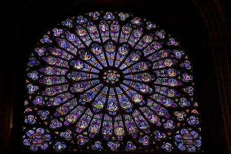 Stained Glass Window, Notre Dame Cathedral, Paris, France, Europe photo