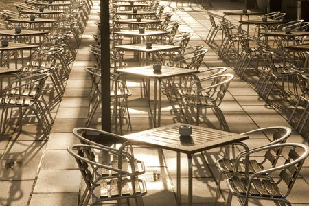 Cafe Tables, Parc de la Mar Park, Palma de Mallorca, Spain Stock Photo - 7331058
