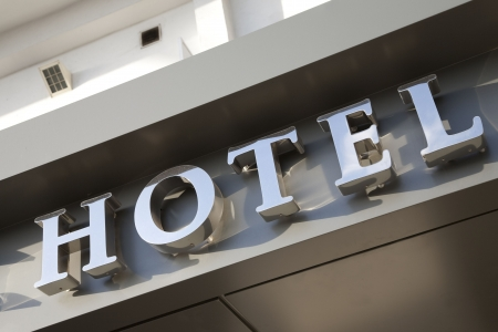 lodging: Hotel Sign Stock Photo
