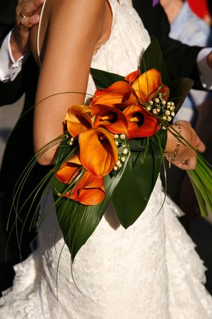 Orange Lilly Wedding Bouquet Stock Photo