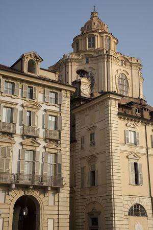 lorenzo: St Lorenzo Church and facades on Castello Square in Turin; Italy Stock Photo