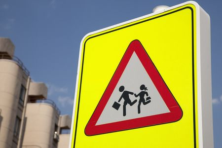 School Safety Sign in urban setting Stock Photo - 7411680