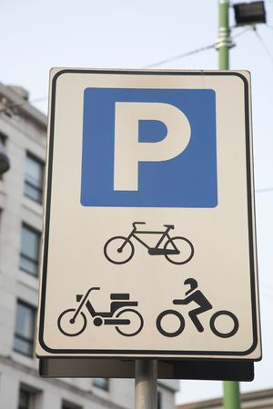 Parking Sign for Bicycles and Motorbikes Stock Photo