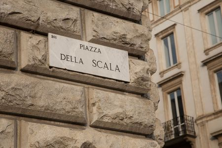 scala: Scala Square Street Sign in Milan, Italy