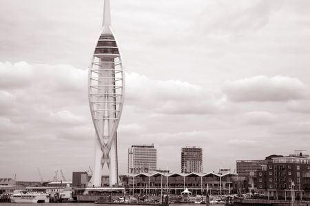 spinnaker: Spinnaker Tower, Portmouth in sepia black and white tone  Stock Photo