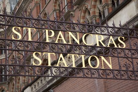 St Pancras International Railway Station Sign in London, England Stock Photo