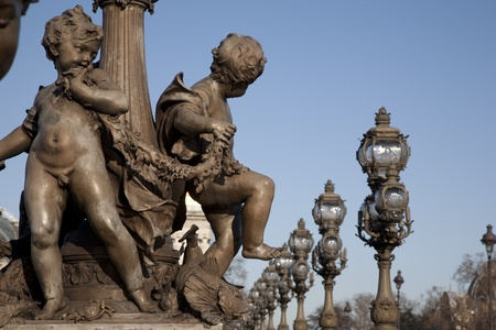 alexandre: Figures on the Alexandre III Bridge, Paris, France Stock Photo