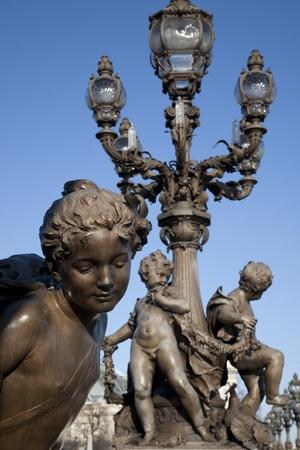 alexandre: Figure on Alexandre III Bridge, Paris, France