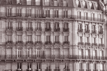 Facade of Building on St Louis Island in Paris, France photo
