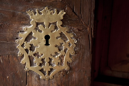 Keyhole on Old Wooden Door photo