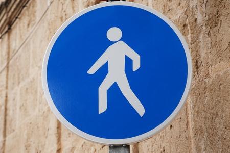 Pedestrian Sign in Urban Setting Stock Photo