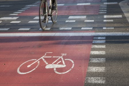 Cycle Path on Street in Barcelona, Spain