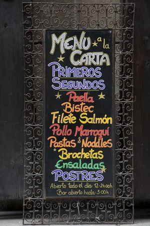 Colorful Spanish Menu with List of Foods Stock Photo