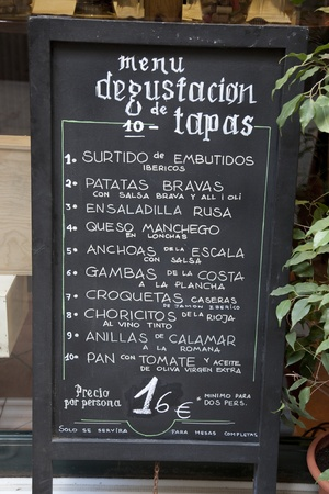 Spanish Tapas Menu in Barcelona, Spain