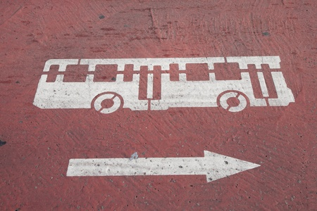 Bus Symbol Painted on Street Stock Photo - 8875516
