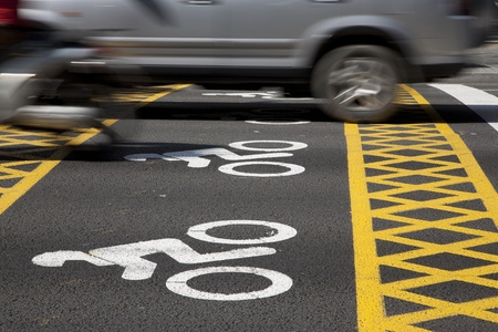 Motorbike preference symbol painted on street at traffic lights Stock Photo - 9183398