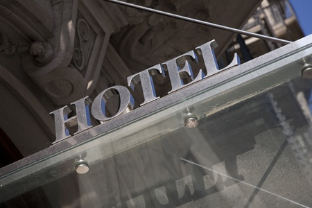 Hotel Sign on Tilted Angle