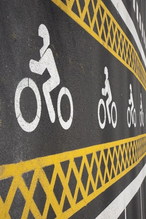 Motorbike Area Sign Painted on Road Stock Photo - 9183401
