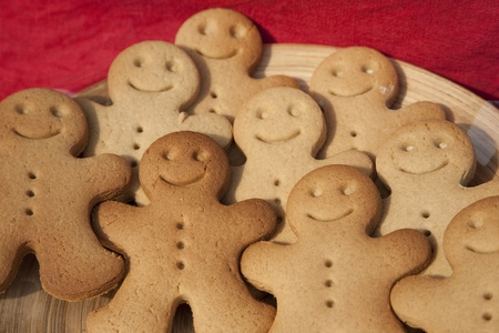 Various gingerbread Men for sale on market stall