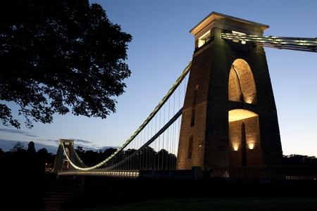 Clifton Suspension Bridge by Brunel, Illuminated at Night, Bristol, England, UK