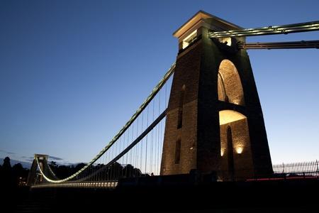 Clifton Suspension Bridge by Brunel, Illuminated at Night, Bristol, UK Stock Photo