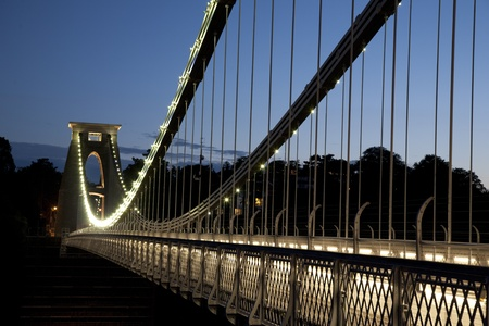 Clifton Suspension Bridge by Brunel, Illuminated at Night, Bristol, England, UK Stock Photo