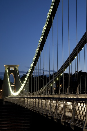 Clifton Suspension Bridge by Brunel, Illuminated at Night, England, UK Stock Photo
