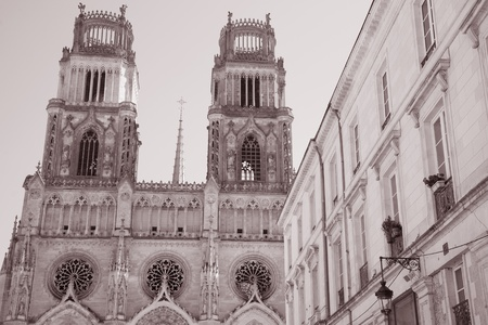 sante: Sante Croix Cathedral in Black and White Sepia Tone, Orleans, France
