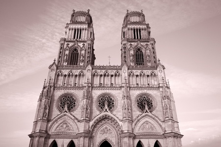 sante: Main Facade of Sante Croix Cathedral, Orleans, France Stock Photo