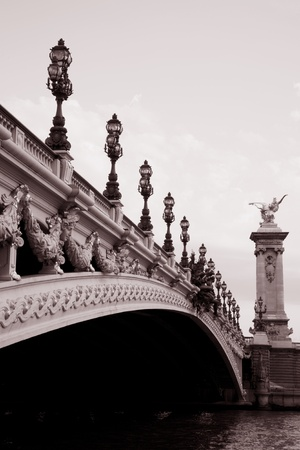 Alexandre III Bridge in Black and White Sepia Tone, Paris, France